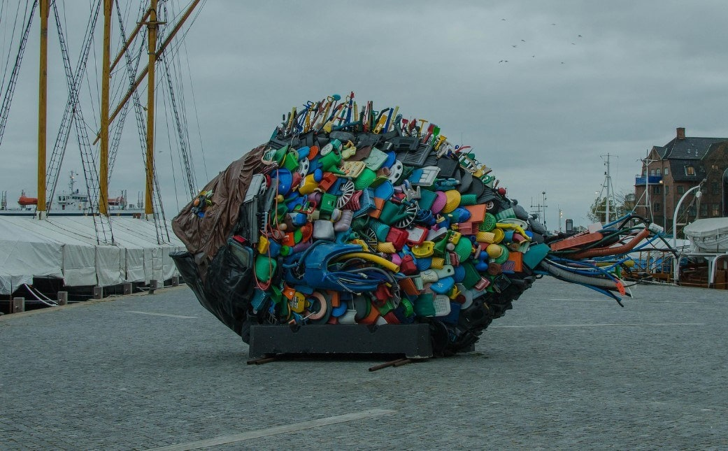 A sculpture made from single plastic