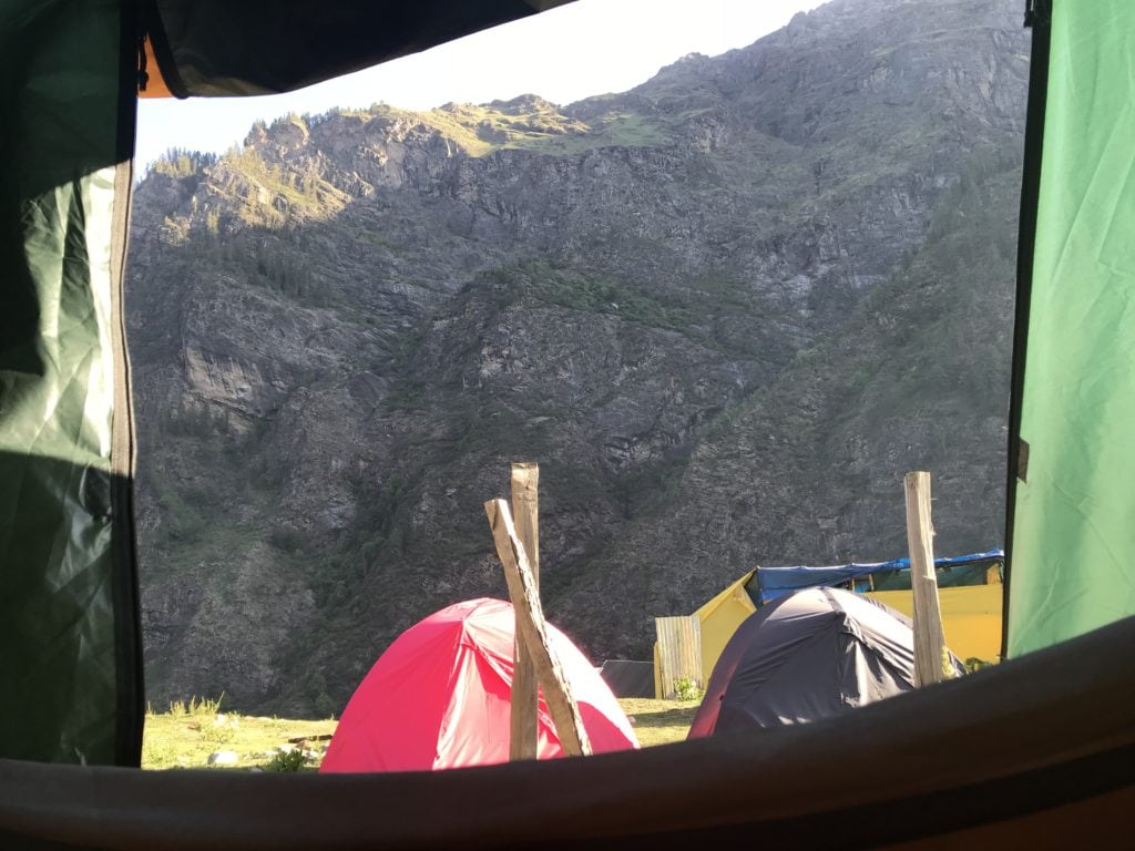 Camping tents setup at Kheerganga