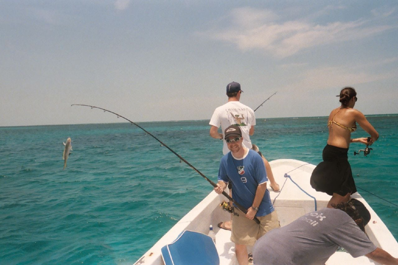 Catching yellowtail snapper in Belize (2006)