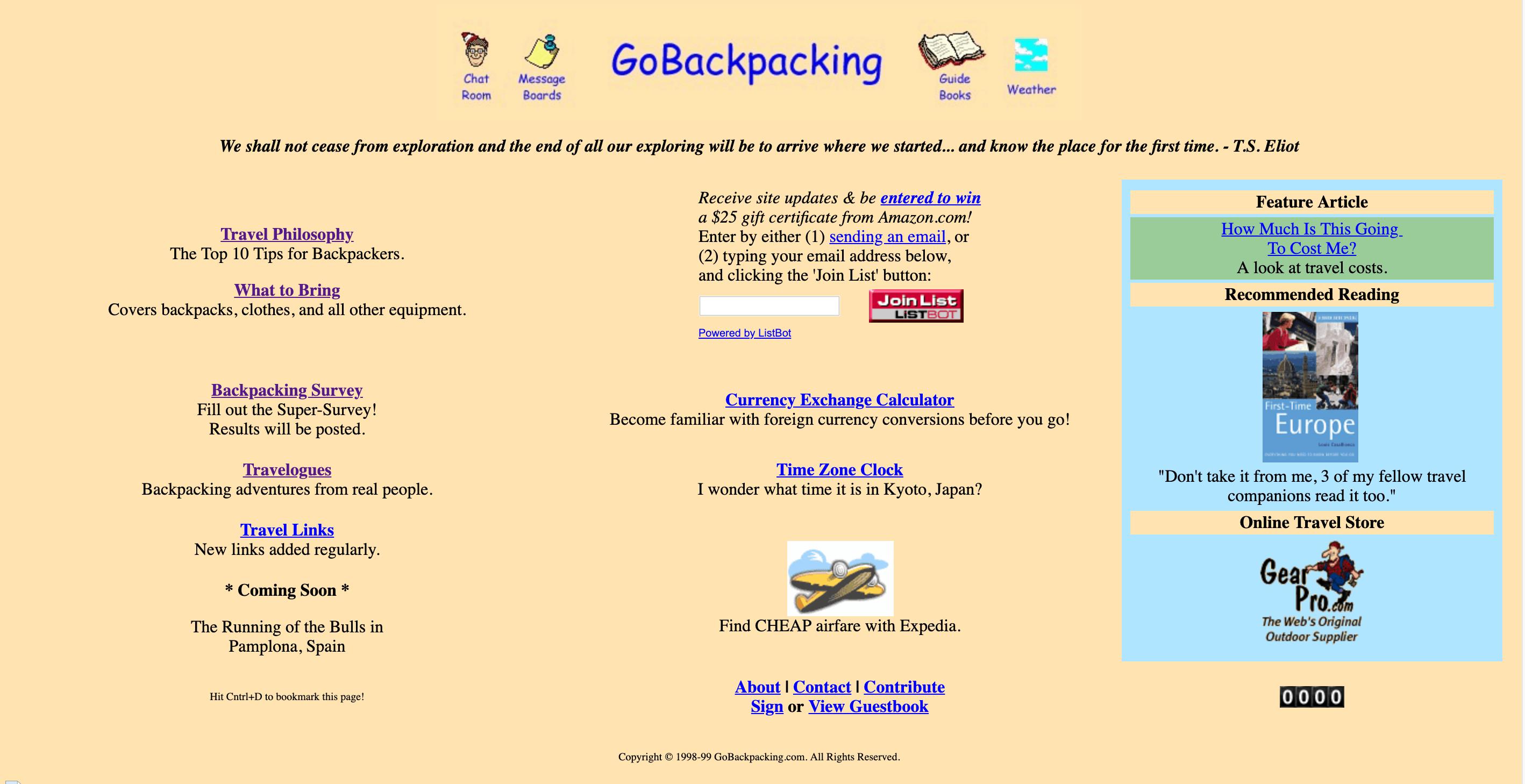 Go Backpacking (circa 1999)