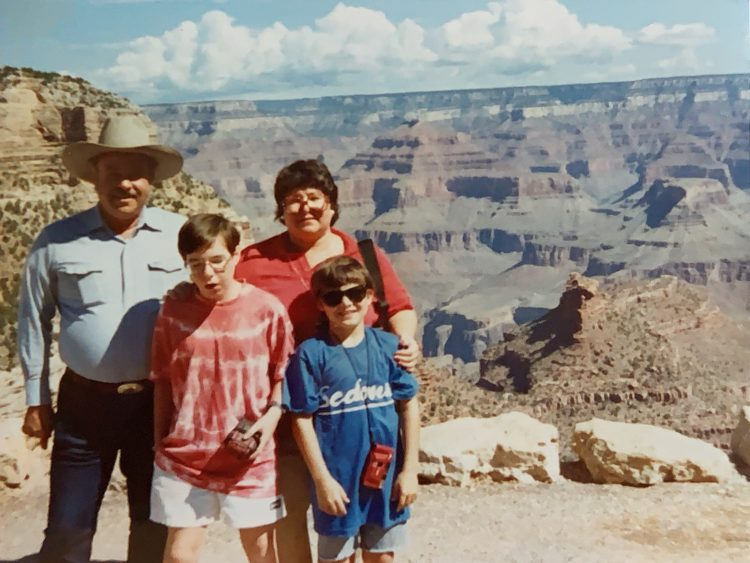 Grand Canyon (L to R): Uncle Andy, me, Mom, younger brother Jon
