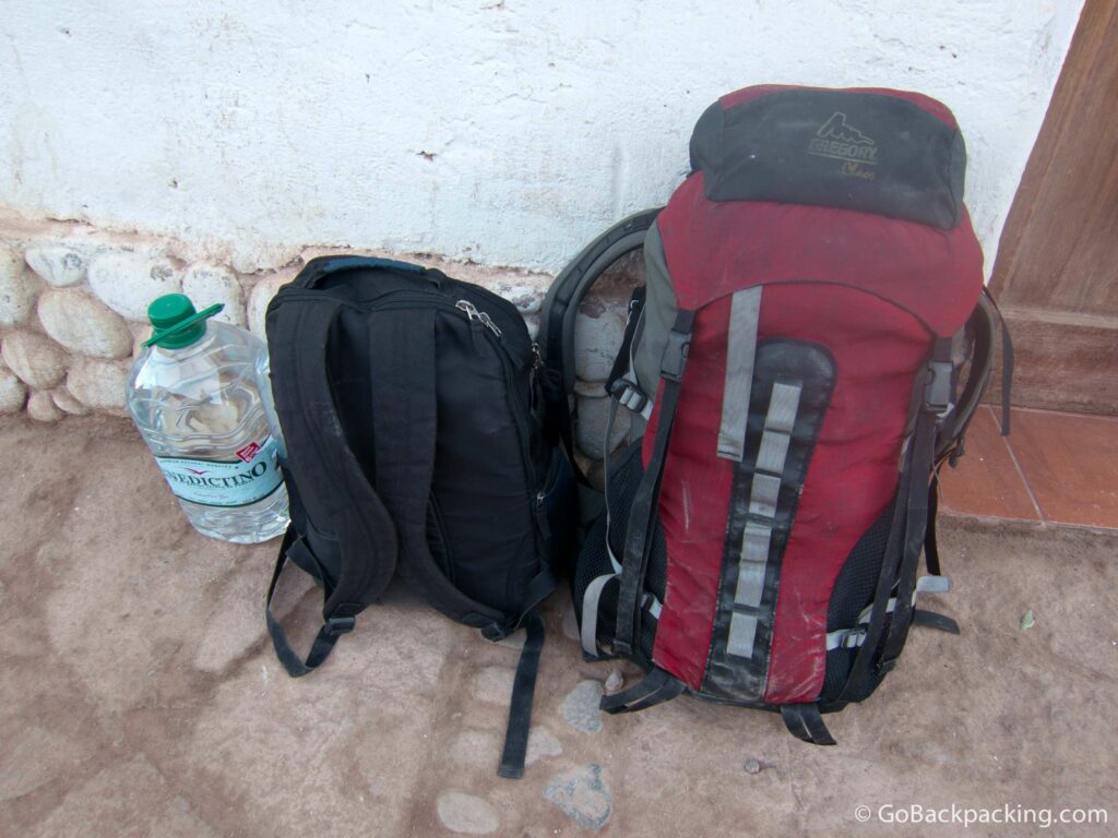 Dave's original Gregory Chaos backpack (red) and day pack - Atacama Desert, Chile