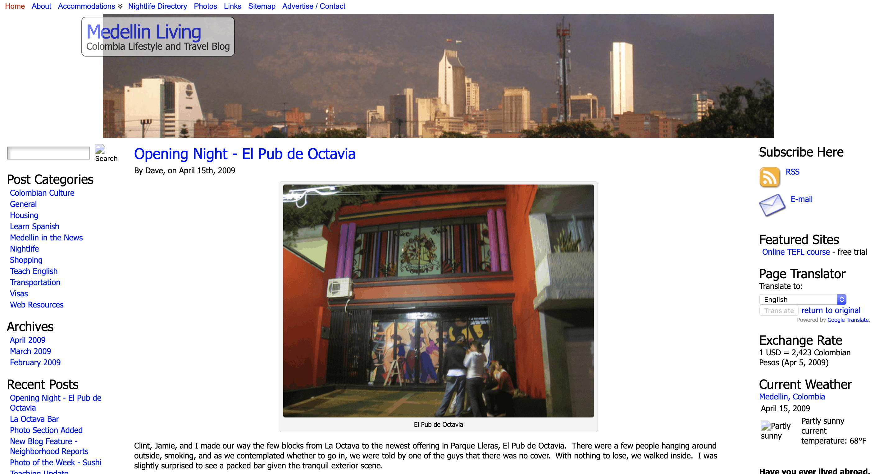 Medellin Living home page 2009
