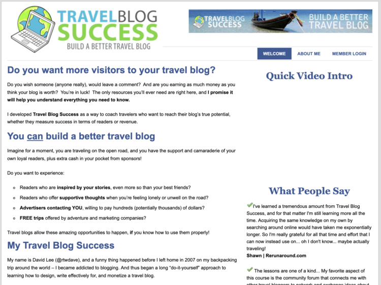 Travel Blog Success home page 2010