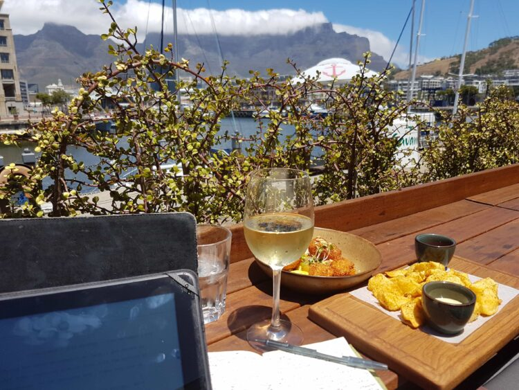 A working lunch looking over Table Mountain in Cape Town, South Africa