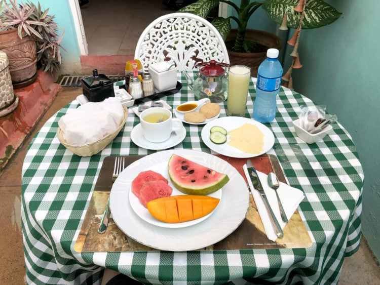 Breakfast at a family-owned Airbnb in Trinidad, Cuba