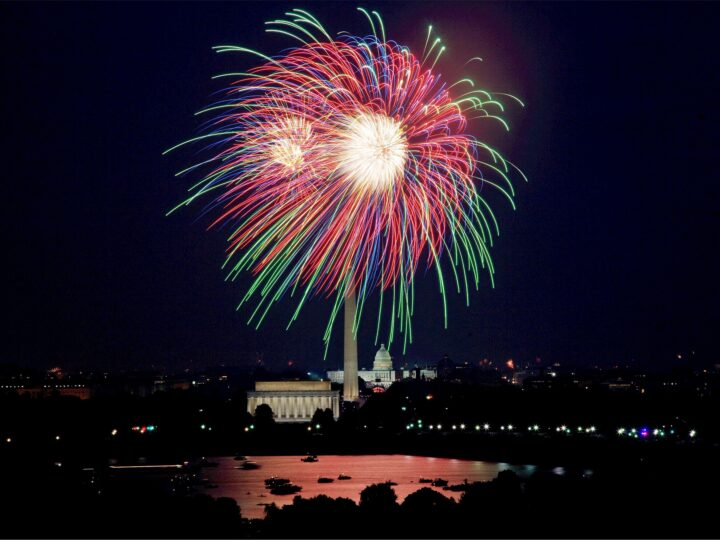 Seeing the fireworks over the National Mall in Washington, DC is one of many popular 4th of July travel ideas