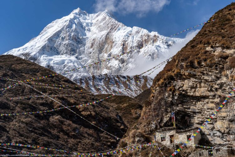 View of Manaslu on one of the most remote treks in Nepal