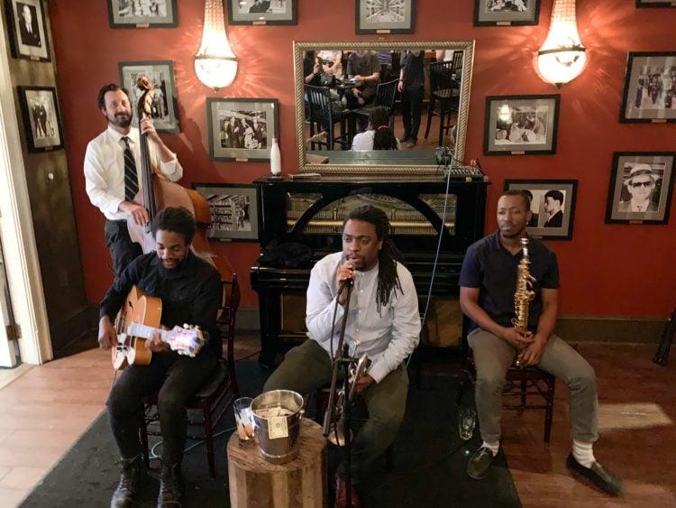 Live jazz at a speakeasy