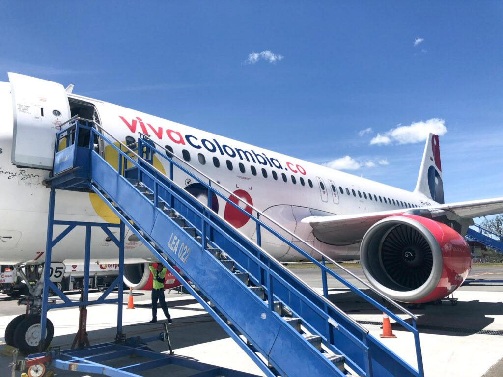 Boarding a Viva Air Colombia flight (photo: Dave Lee)
