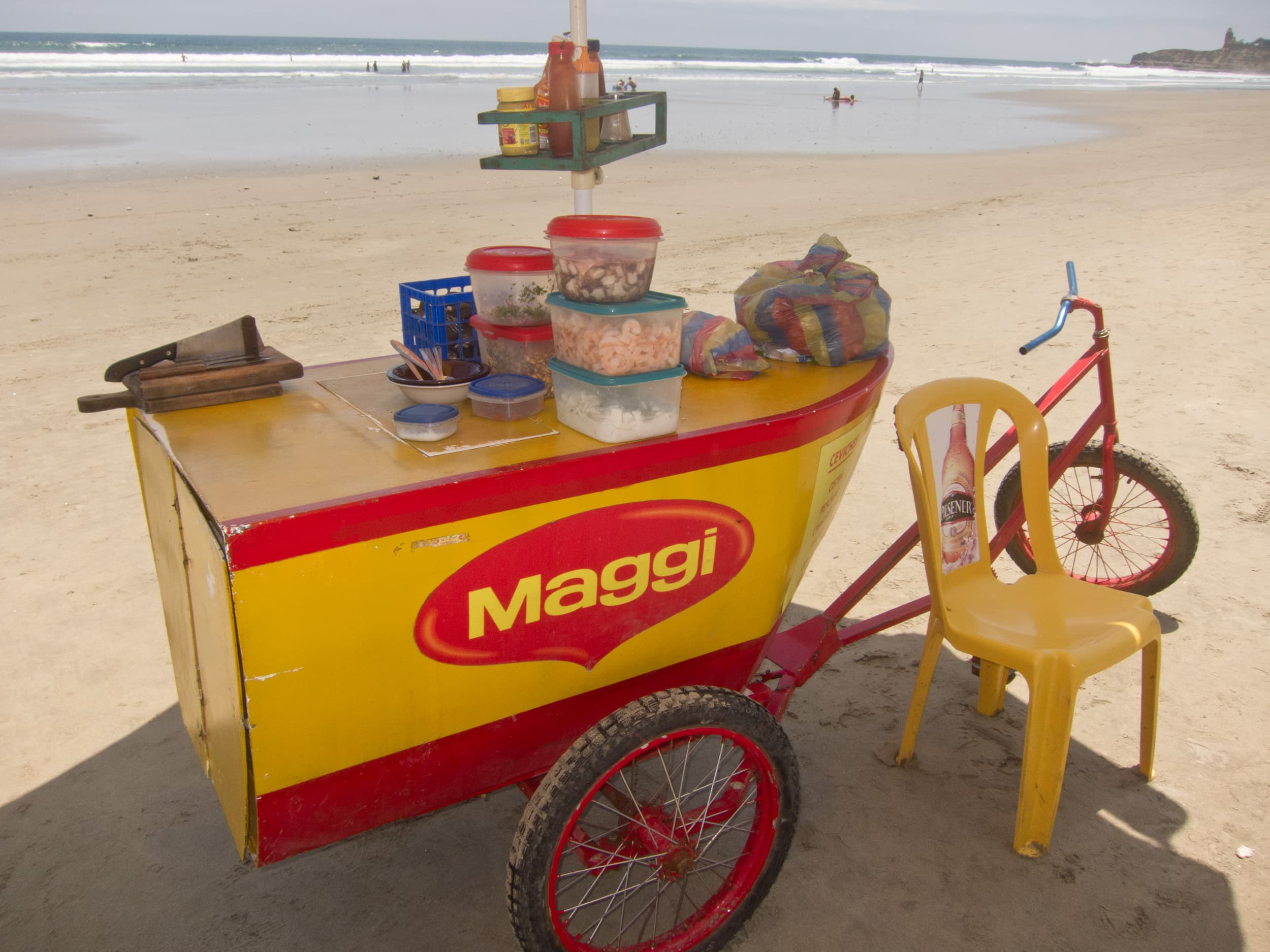 Ceviche vendors can be found throughout the town, and on the beach