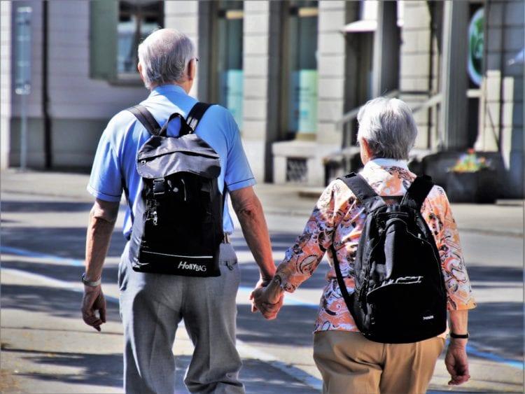 Elderly backpackers