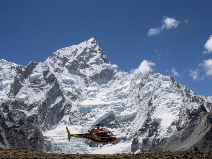Helicopter at Everest Base Camp