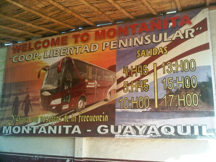 Departure times for the CLP buses leaving Montanita for Guayaquil