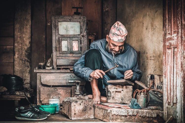 Man working in Kathmandu, Nepal