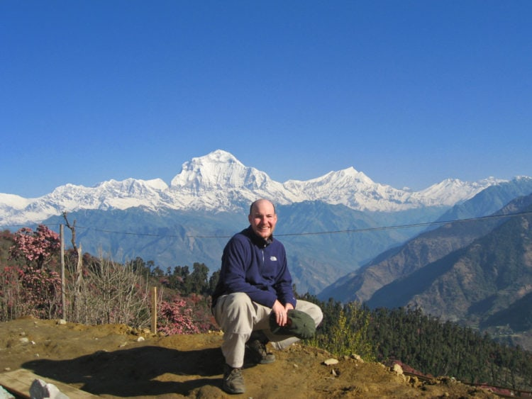 Dave in front of Dhaulagiri, the world's 7th tallest mountain