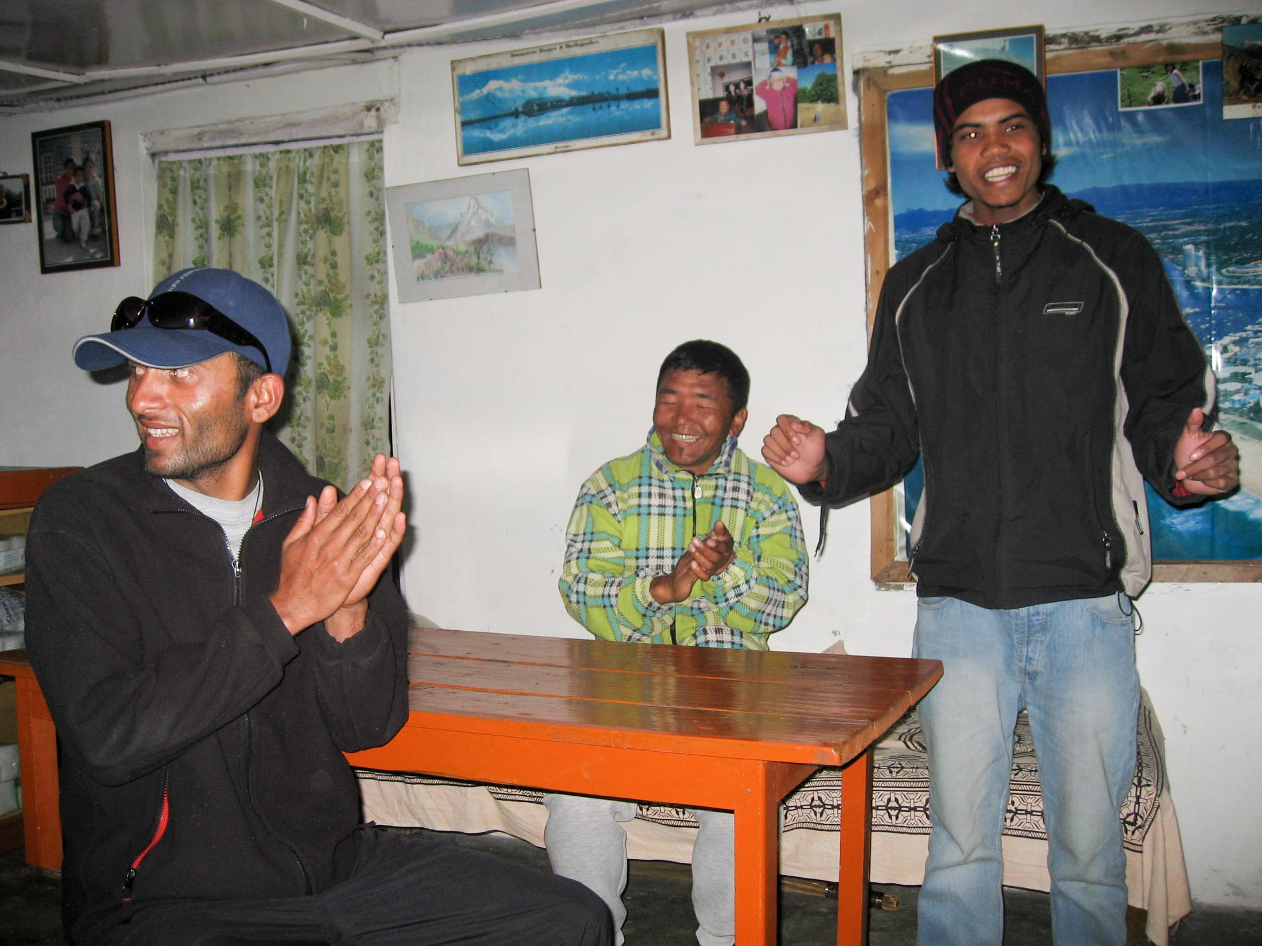 Mohan, our Nepali adventure travel guide (left) and Nima Sherpa (middle)