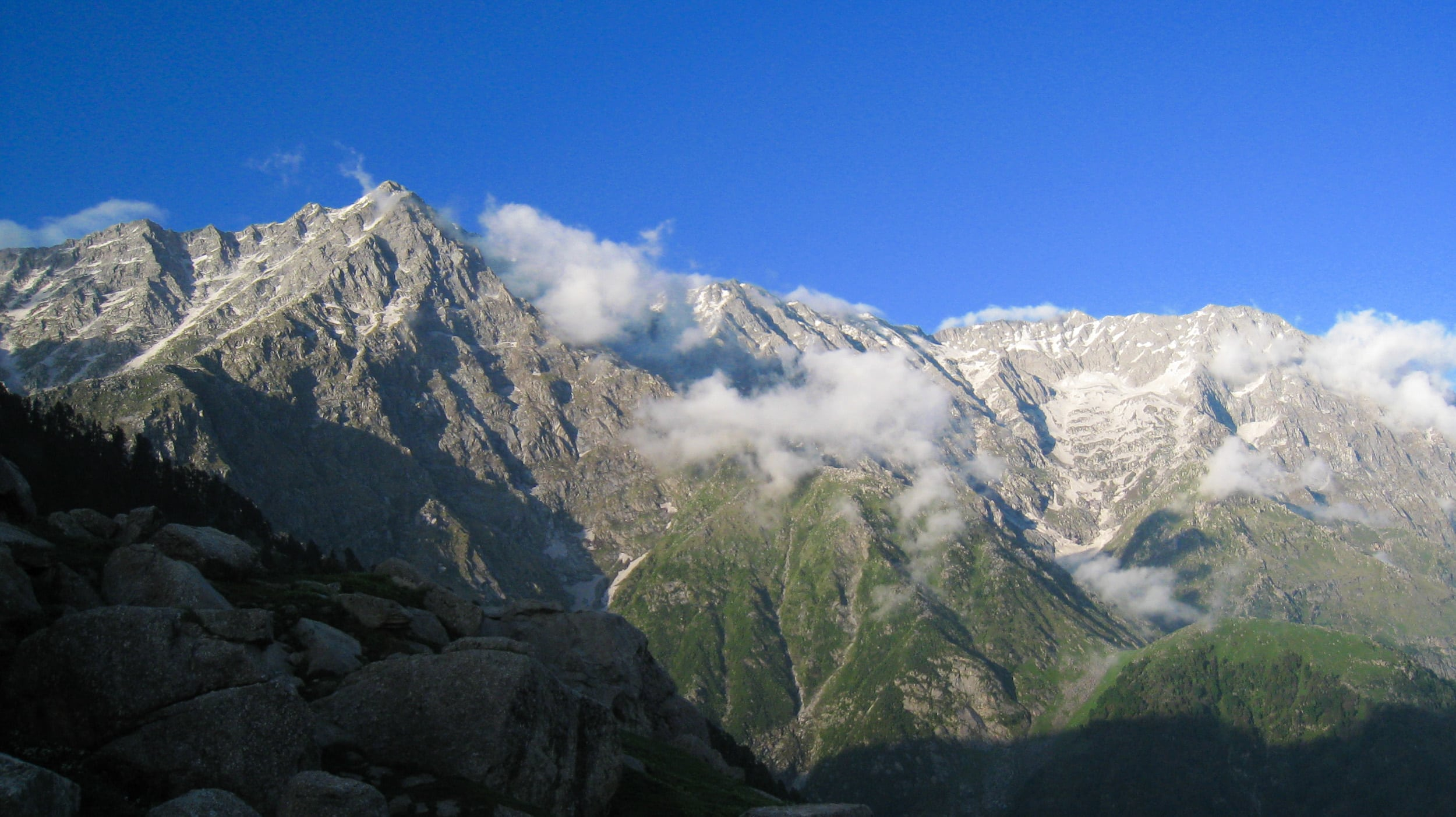 Indrahar Pass (left of the peak) in northern India