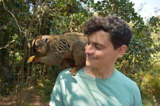 Matt with a lemur in Madagascar