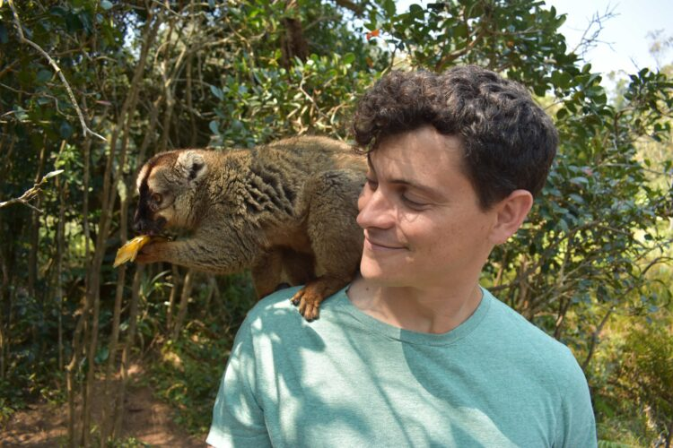 Matt with a lemur in Madagascar