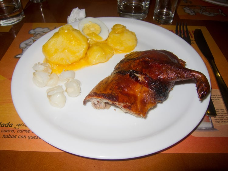 Cuy (guinea pig) with potatoes
