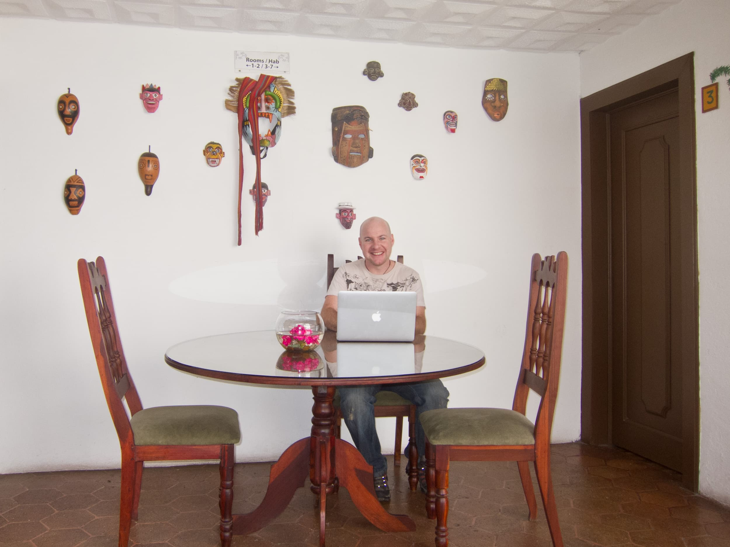 Dave working at Hostal Macondo in Cuenca