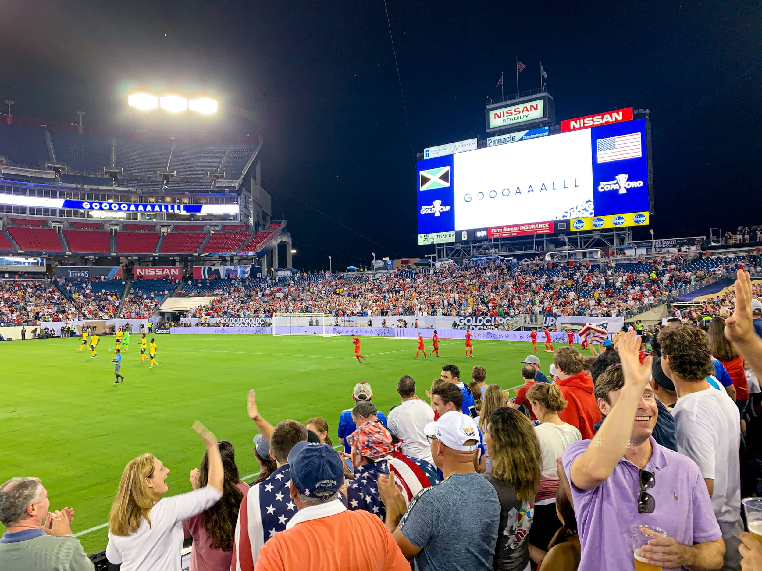 The US men's soccer team scores against Jamaica in the Gold Cup semifinal match