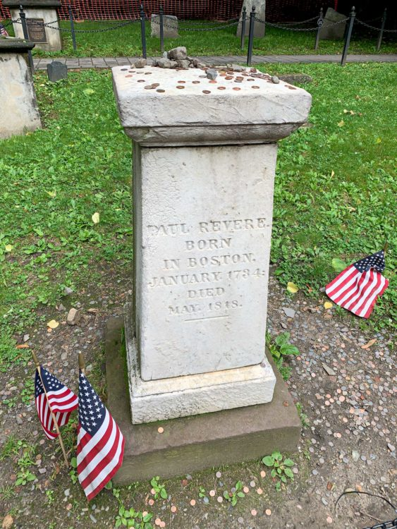 Paul Revere's grave in the Granary Burying Ground
