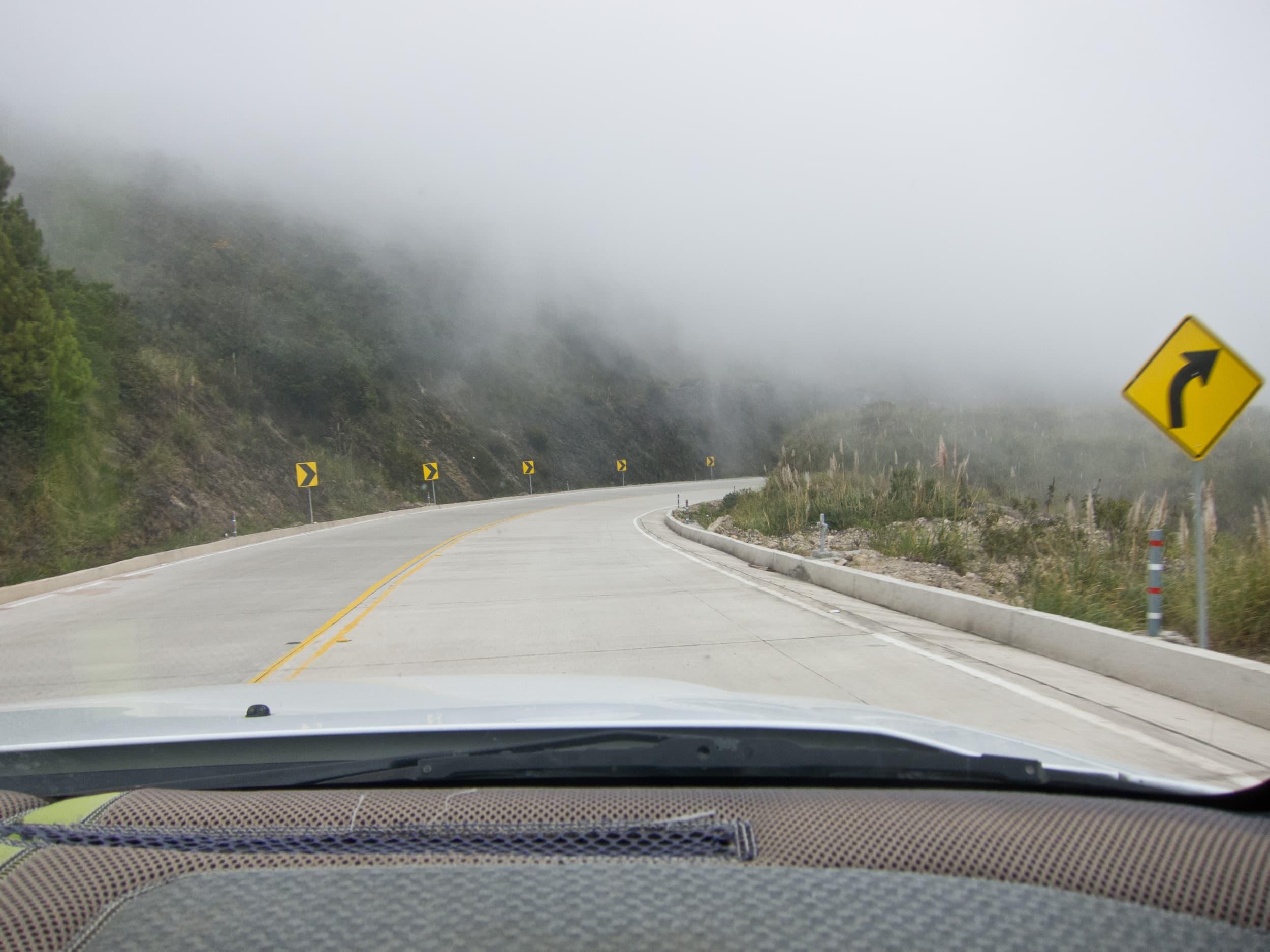 Navigating cloud-covered roads outside Cuenca, Ecuador