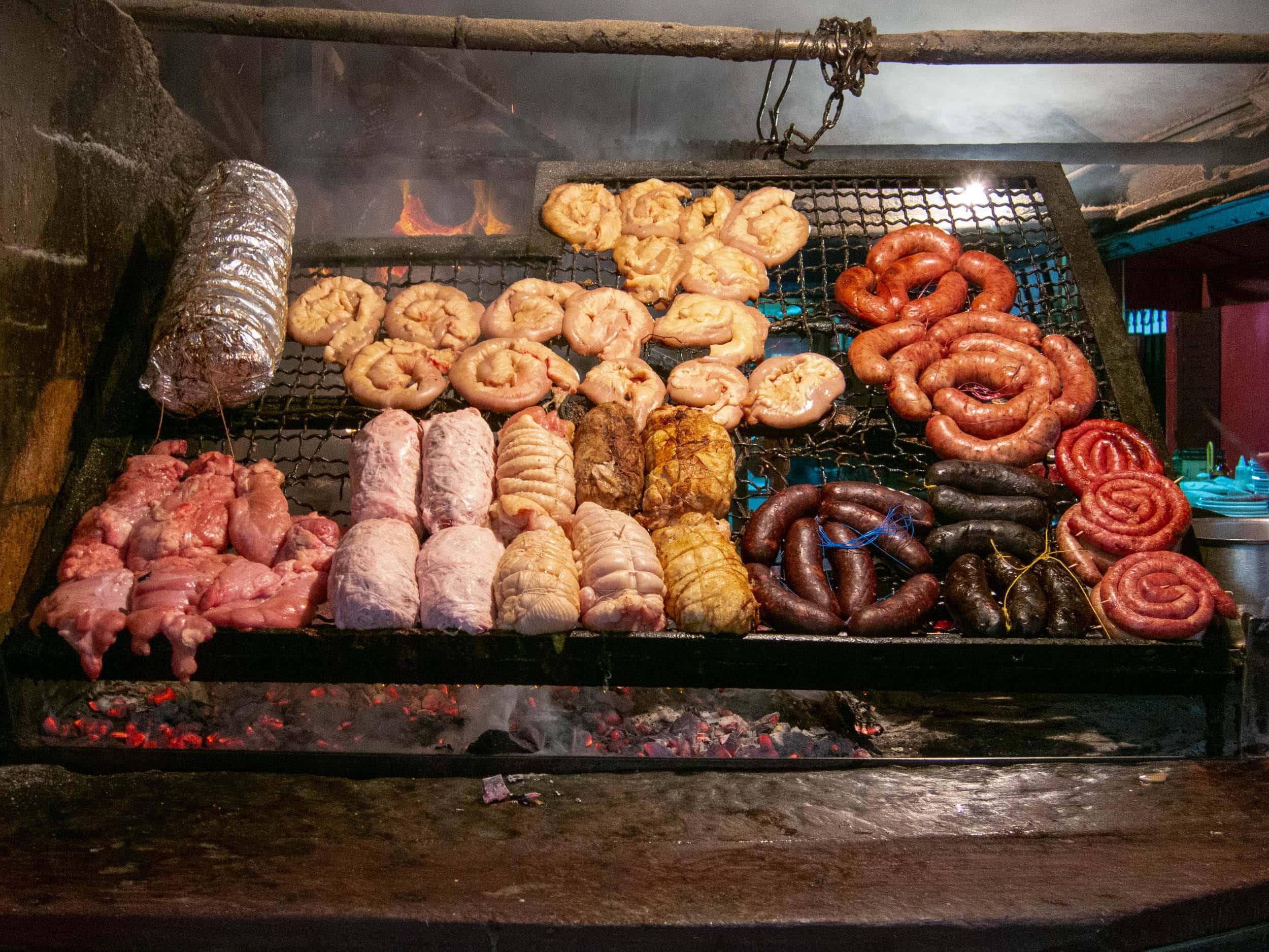 Asado with sausages & sweetbreads at Mercado del Puerto