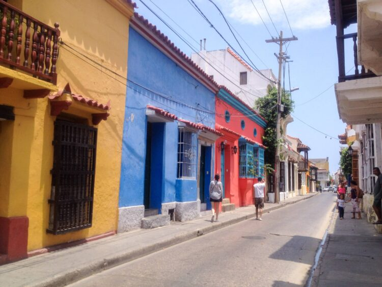Colorful street in Old Town Cartagena