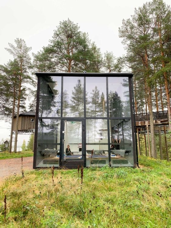 Glass house at Granö Beckasin hotel