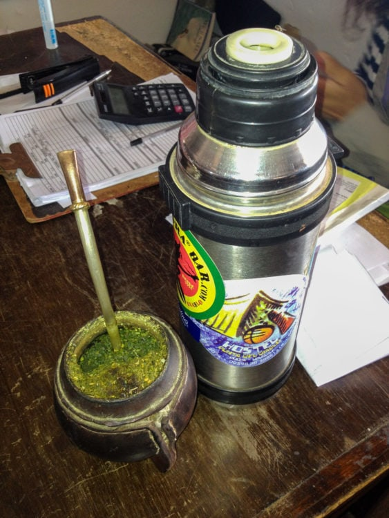 Mate and thermos of hot water