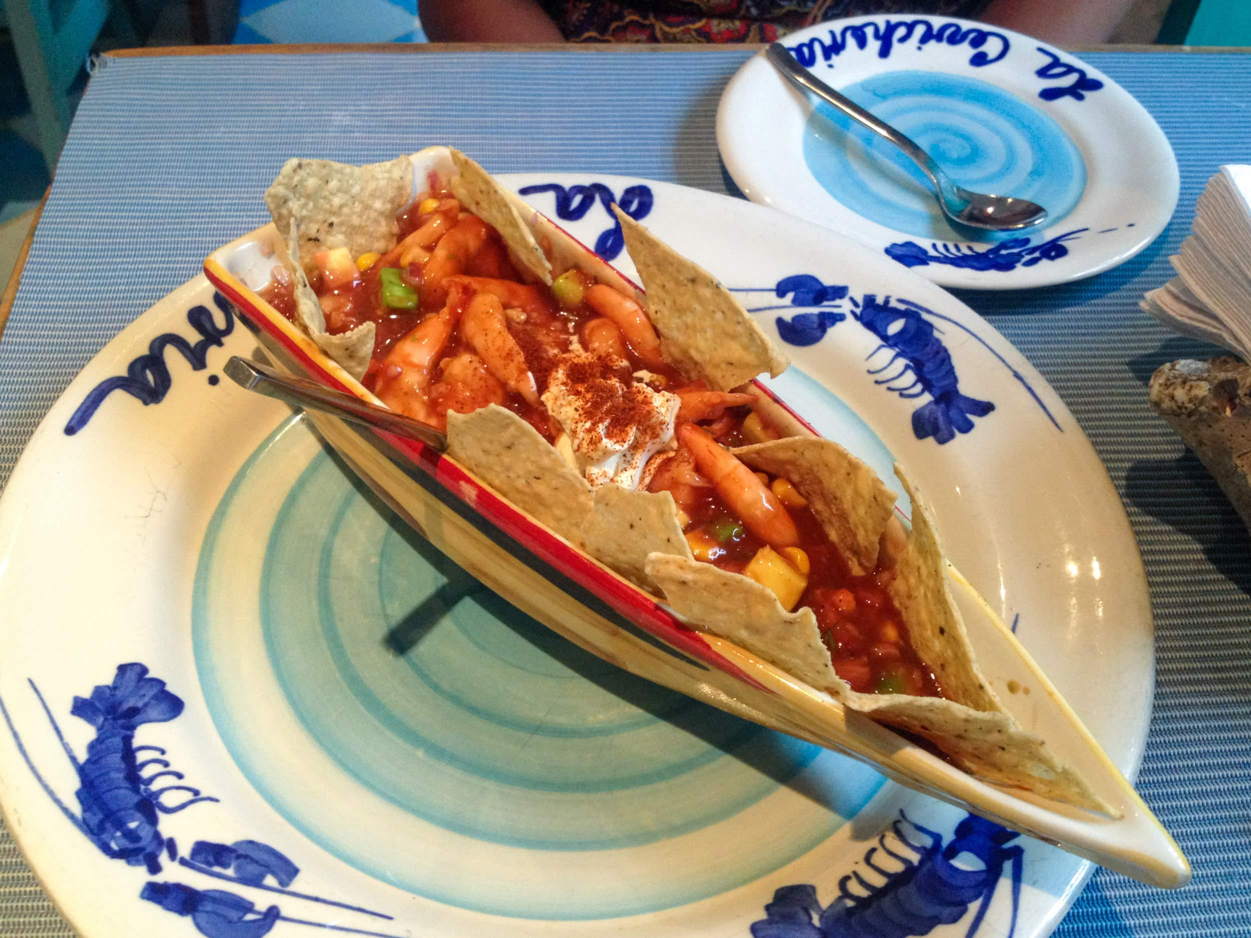 Shrimp ceviche at La Cevicheria, a recommendation in our city guide to Cartagena