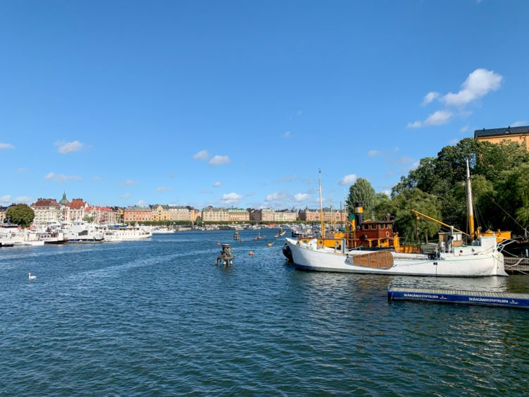 View of Strandvagen from Skeppsholmsbron bridge