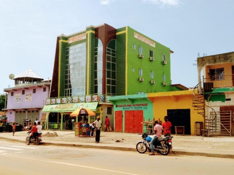 Colorful buildings in Ganta, Liberia