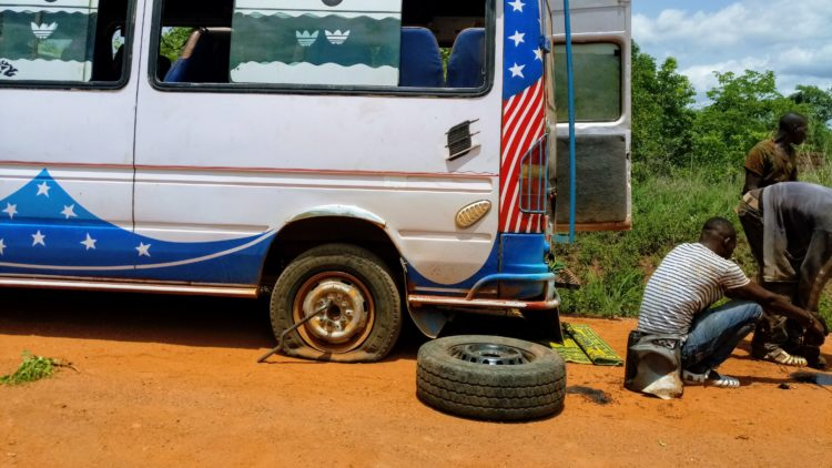 Flat tire in Ivory Coast
