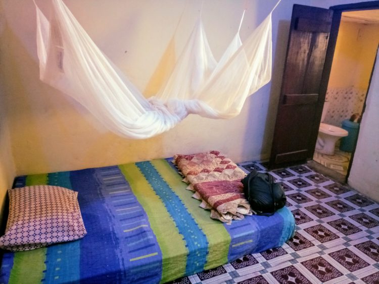 Basic guesthouse room in Sierra Leone