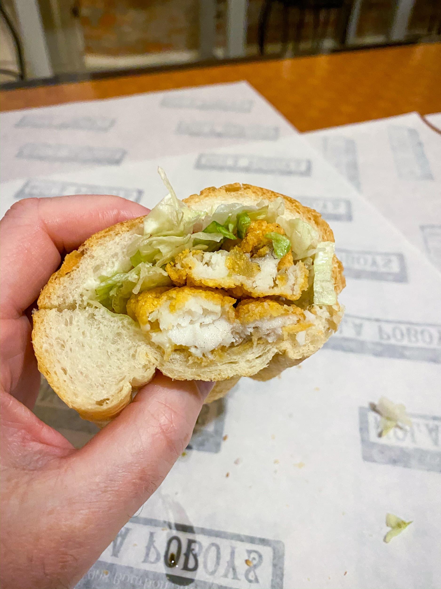 Fried catfish po'boy sandwich