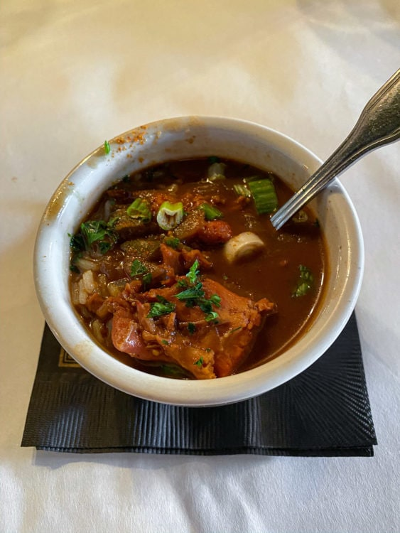 The New Orleans food tour finished with a cup of gumbo