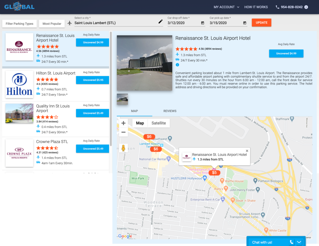 Global Airport Parking search results