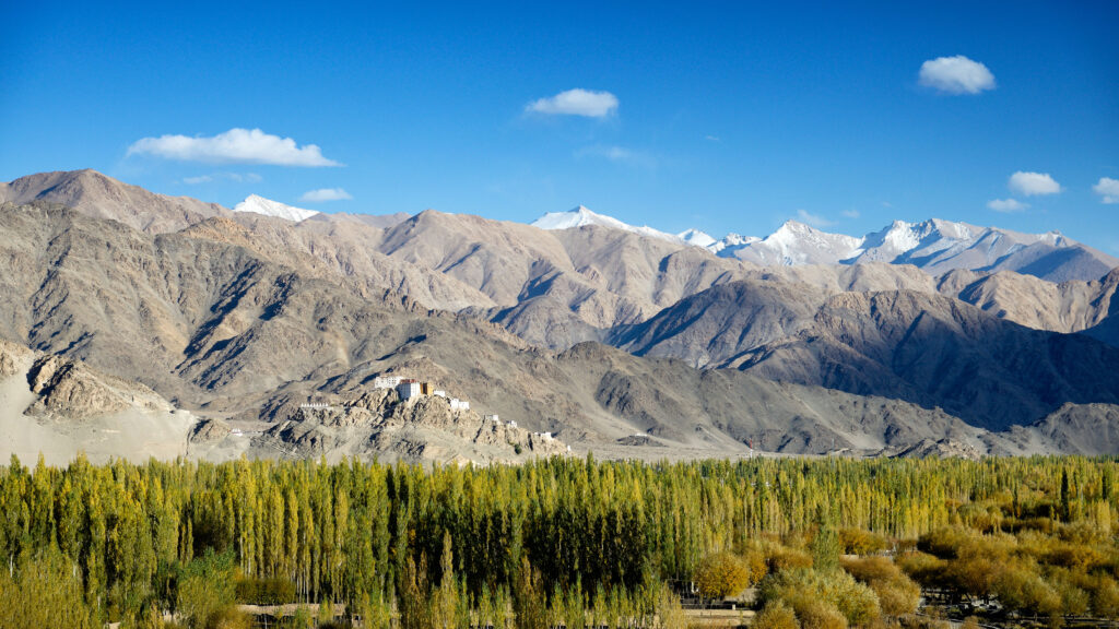 The Indus Valley with Thiksey Monastery in the distance