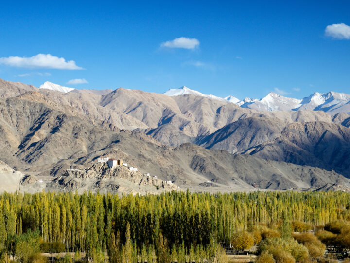 The Indus valley and Thiksey monastery in the distance