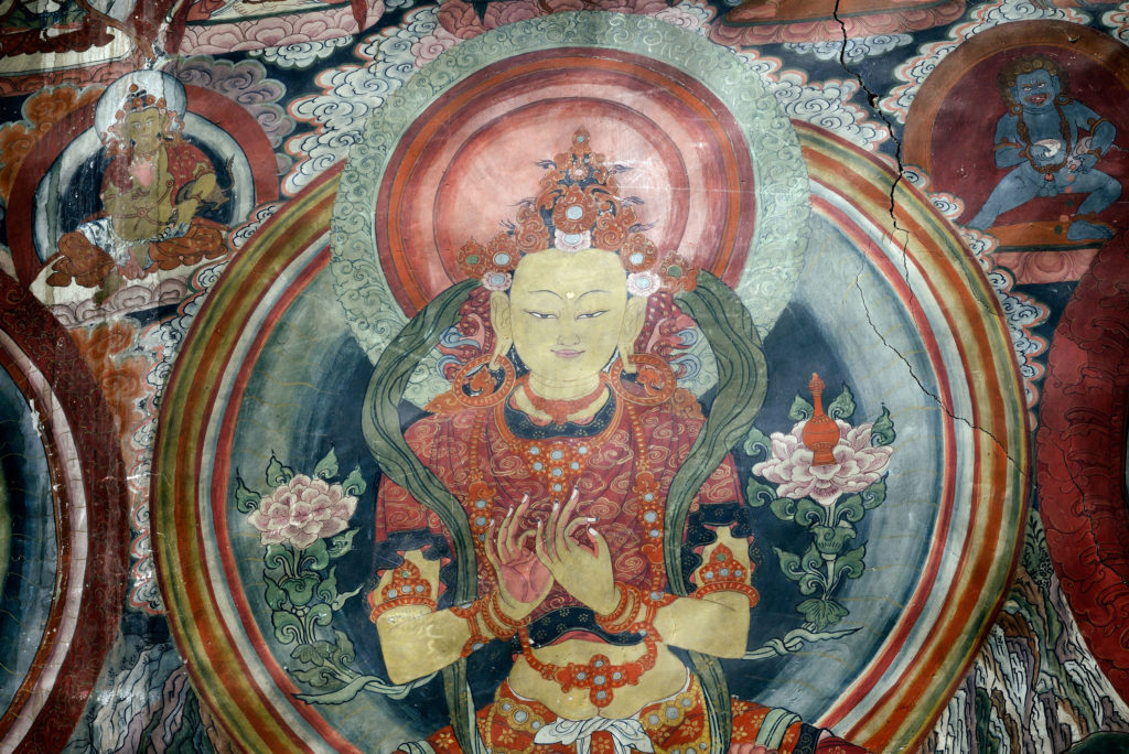 Murals inside Thiksey monastery, a popular site for first-time visitors to Ladakh, India