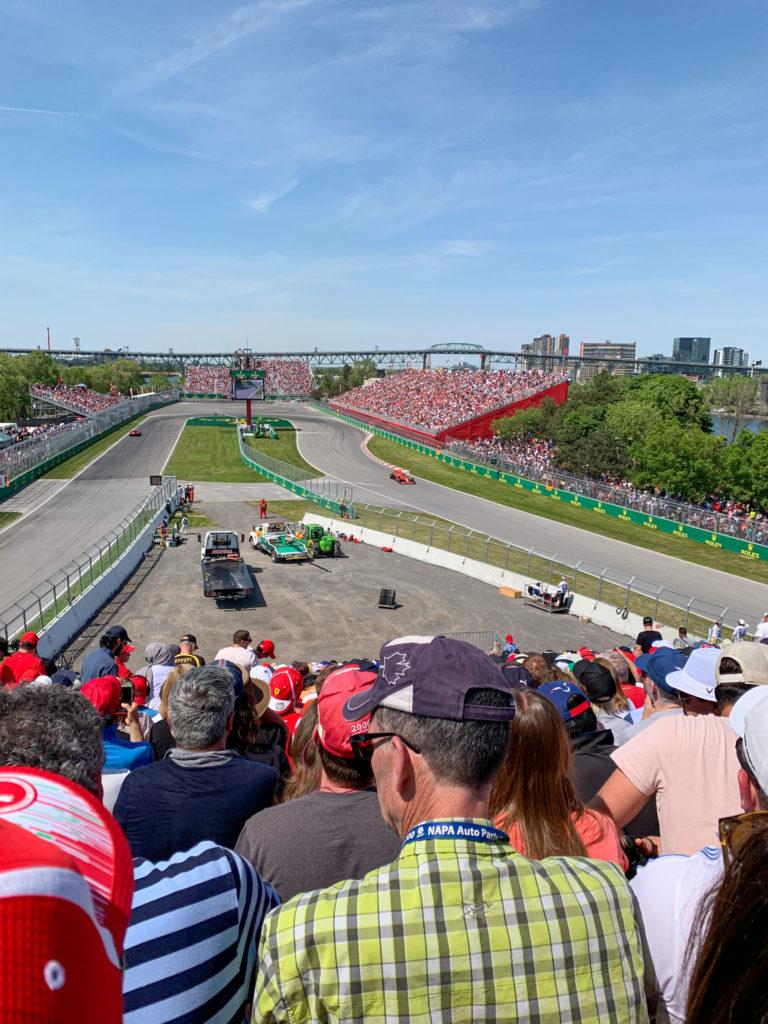 Sebastian Vettel leads the Canadian Grand Prix in Montreal for Ferrari
