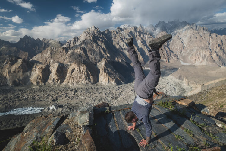 Will Hatton doing a handstand in Pakistan