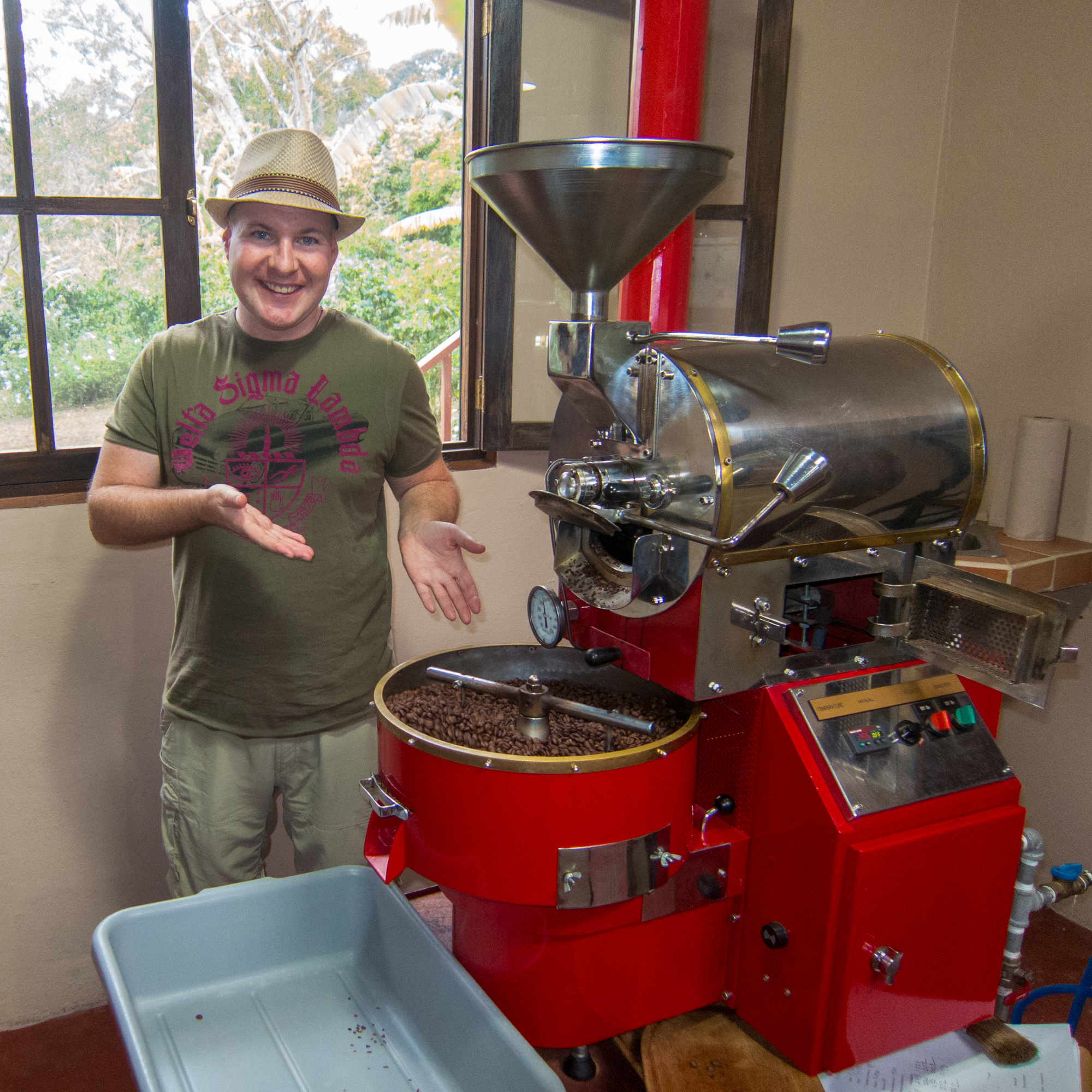 Dave learning about coffee roasting at Finca Dos Jefes