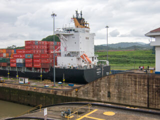 Shipping container in Panama Canal