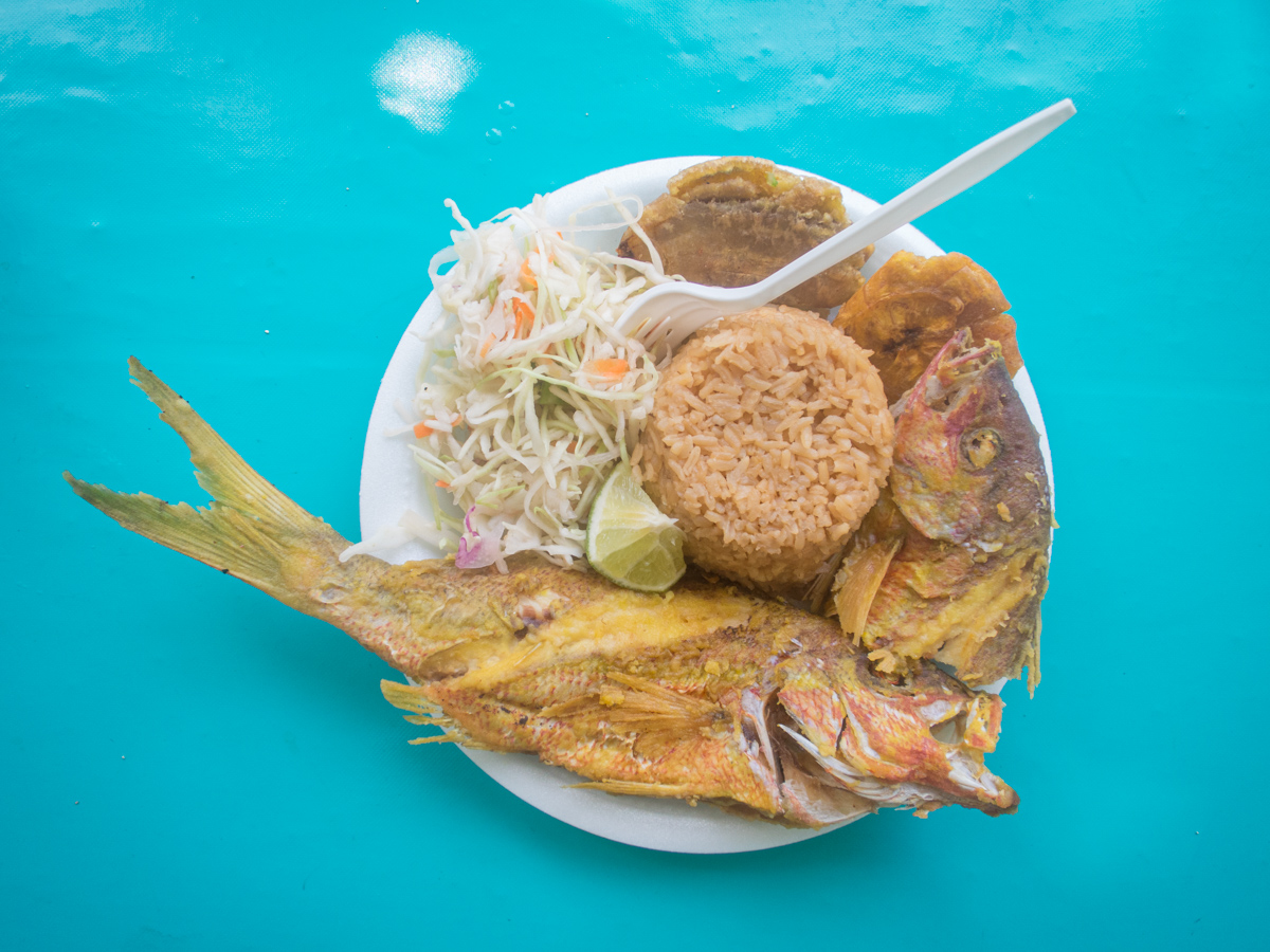 Fried snapper, rice, plantains