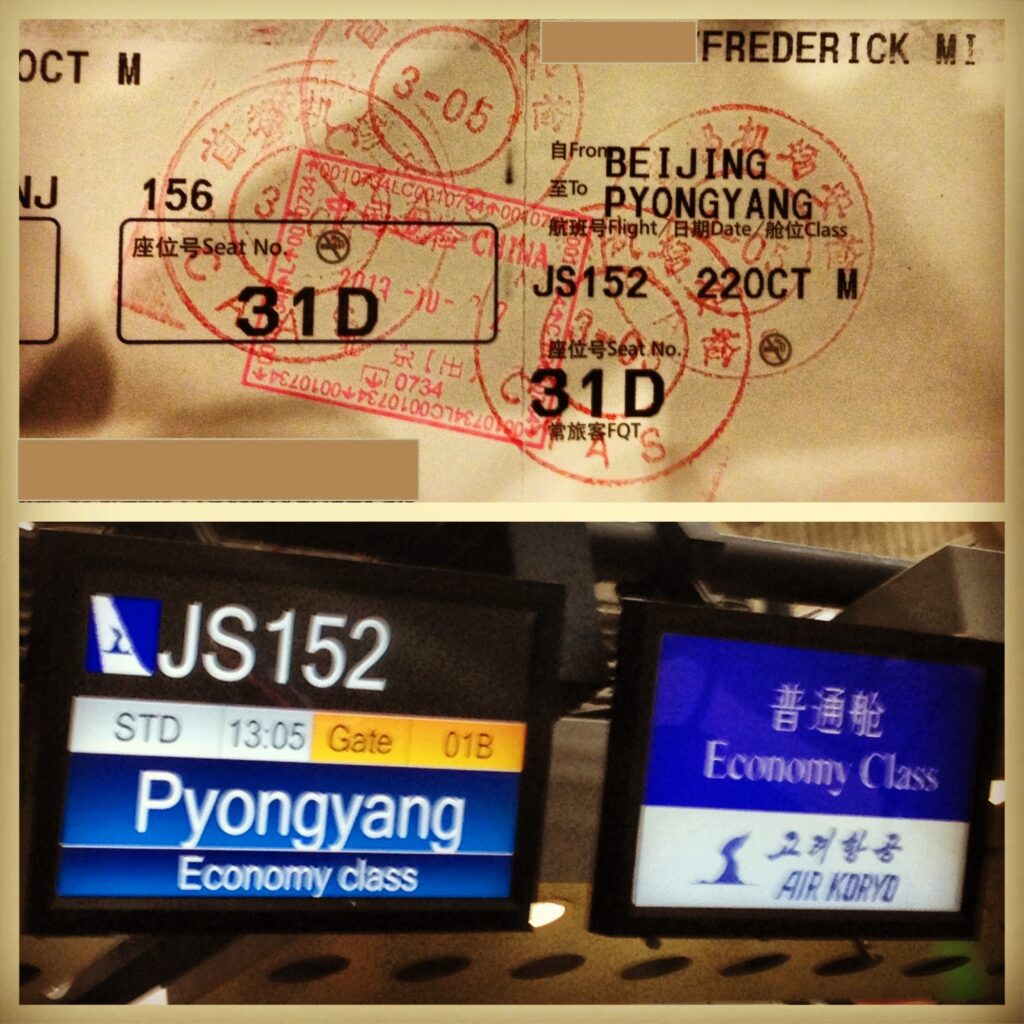 Air Koryo plane ticket and check-in counter